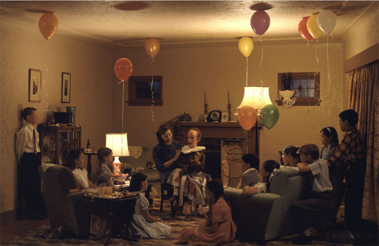 Jeff Wall, A ventriloquist at a birthday party in October 1947 (1990)